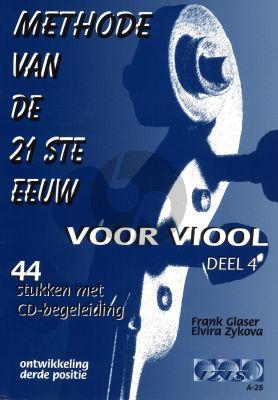 Glaser Methode van de 21ste Eeuw Vol.4 (Viool) (Bk-Cd) (44 Stukken met Cd-Begeleiding)