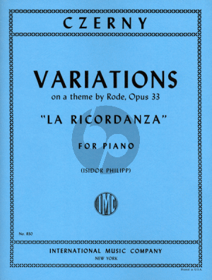 Czerny Variations La Ricordanza Op.33 (on a theme by Rode) (Isidor Philipp)