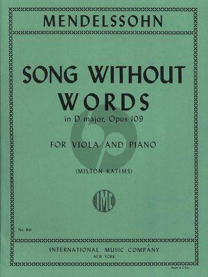 Mendelssohn Song without Words D Major Op.109 (Arr. Viola-Piano Milton Katims)