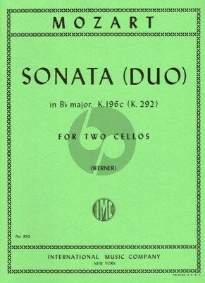 Mozart Sonata B-flat major KV 292 (196c) 2 Violoncellos (Werner)