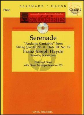 Serenade (Andante Cantabile from String Quartet Hob.III:17) (Flute-Piano) (Bk-Cd)