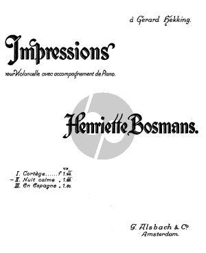 Bosmans Nuit Calme Cello-Piano