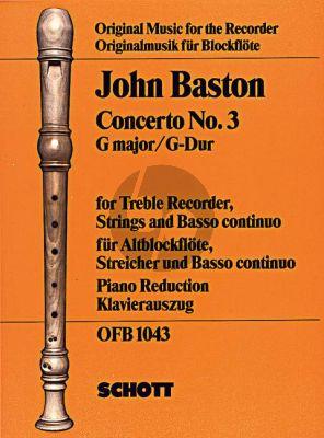 Baston Concerto No.3 G-major Treble Rec.-Strings-Bc (piano red.)