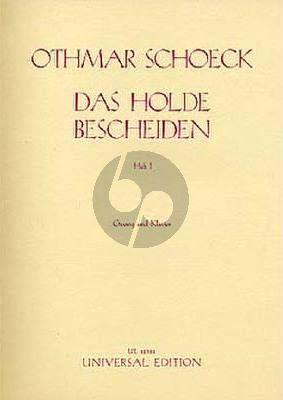 Schoeck Das Holde Bescheiden Op.62 Vol.1 Gesang-Klavier (Eduard Möricke)