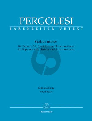 Pergolesi Stabat Mater Soprano-Alto Voice-Strings-Bc Vocal Score (lat.) (edited by Malcolm Bruno)