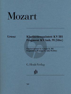 Quintett KV 581 A-dur & Fragment KV Anh.91(516c) Bb-Dur ((Wiese)