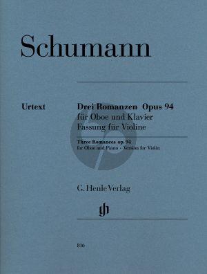 3Schumann Romanzen Op.94 Violine-Klavier (orig.Oboe) (Meerwein) (Henle-Urtext)