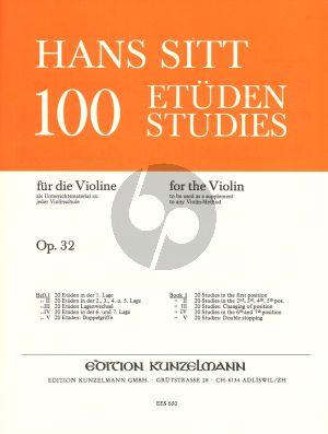 Sitt 100 Etuden Op.32 Vol.1 Violine (20 Etuden in der 1. Lage)