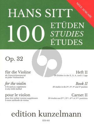Sitt 100 Etuden Op.32 Vol.2 Violine (20 Etuden in der 2 - 3 - 4 - 5 Lage)