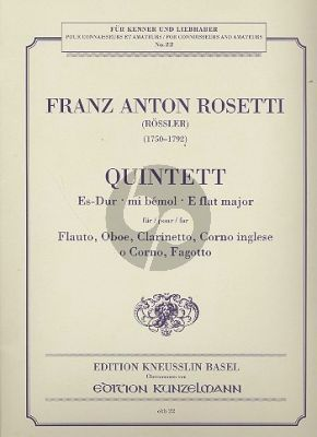 Quintett Es-dur (Murray B6) Flöte-Oboe-Klarinette-Englischhorn und Fagott