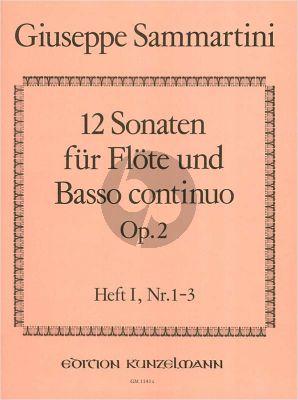 Sammartini 12 Sonaten Op.2 Vol.1 (No.1 - 3) Flöte-Bc (Istvan Mariassy)