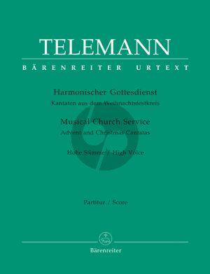 Telemann Harmonischer Gottesdienst (Weihnachtsfestkreis) High Voice-Instruments-Bc (Score/Parts) (Gustav Fock / Ute Poetzsch)