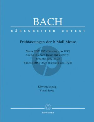 Bach Messe h-moll (Mass b-minor) BWV 232I (Version of 1733) (Vocal Score) (edited by Andreas Kohs) (Barenreiter-Urtext)