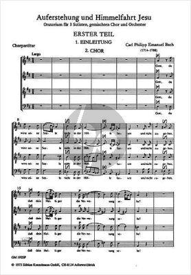 Bach Auferstehung und Himmelfahrt Jesu WQ 240 Soli-Choir-Orch. Choral Score (Gabor Darvas)