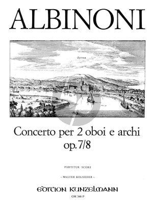 Albinoni Concerto D-dur Op. 7 / 8 2 Oboen und Streichorchester (Partitur) (Walter Kolneder)