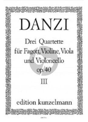 Danzi Quartett B-dur Op.40 No.3 Fagott, Violine, Viola und Violoncello (Stimmen) (Herausgegeben von Bernhard Pauler)