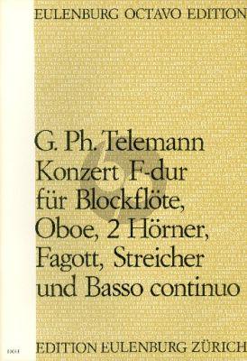 tELEMANN Konzert F-dur TWV 54:F1 Blockflöte-Oboe-2 Hörner-Fagott-Streicher-Bc Partitur (Felix Schroeder)