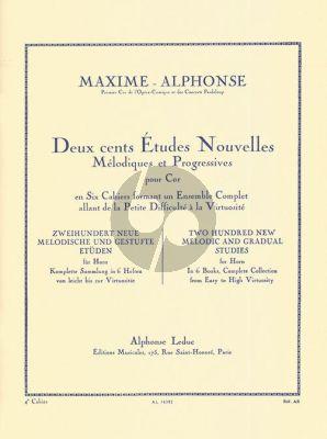 Alphonse 200 Etudes Nouvelles Melodiques Vol. 4 pour Cor (20 Etudes Difficiles)