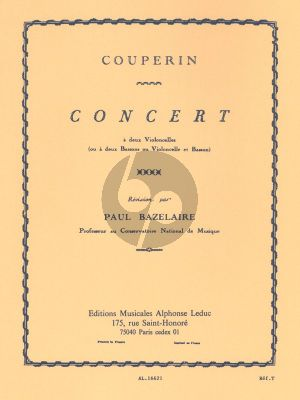 Couperin Concert (Duo G-major) 2 Violoncellos ou 2 Bassons