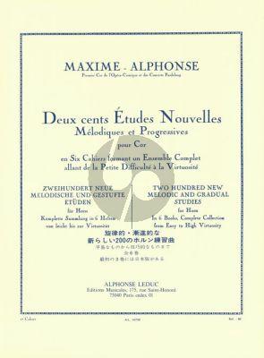 Alphonse 200 Etudes Nouvelles Melodiques Vol. 2 pour Cor (40 Etudes Faciles)