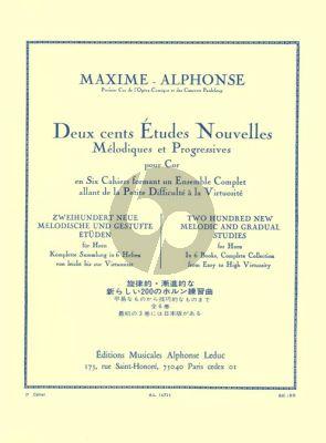 Alphonse 200 Etudes Nouvelles Melodiques Vol. 3 pour Cor (40 Etudes Moyenne Force)