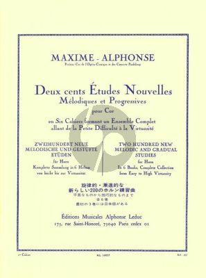 Alphonse 200 Etudes Nouvelles Vol. 1 pour Cor (70 Etudes tres Faciles et Faciles)