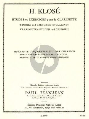 Klose 45 Exercises d'Articulation pour la Clarinette (Paul Jeanjean)