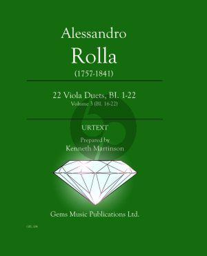 22 Viola Duets BI.1 - 22 Vol.3 (BI.16 - 22) (Score) (edited by Kenneth Martinson)