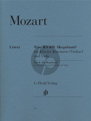 Mozart Trio KV 498 E-flat major (Kegelstatt) (Piano-Clar.[Bb][Vi.]-Viola) (Score/Parts) (edited Herrtrich/Theopold) (Henle-Urtext)