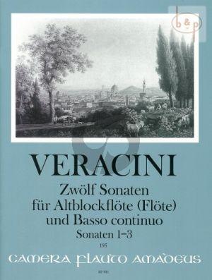 Veracini 12 Sonaten Vol.1 No.1 - 3 Treble Recorder [Flute/Violin]-Bc (edited by Winfried Michel)