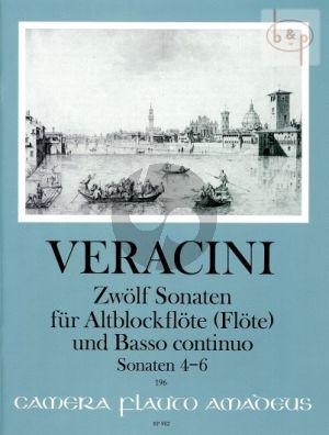 Veracini 12 Sonaten Vol.2 No. 4 - 6 Treble Recorder [Flute]-Bc (edited by Winfried Michel)