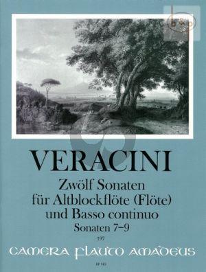 Veracini 12 Sonaten Vol.3 No. 7 - 9 Treble Recorder [Flute]-Bc (edited by Winfried Michel)