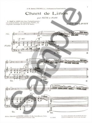 Jolivet Chant de Linos for Flute and Piano