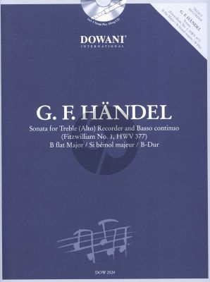 Handel Sonate B-flat major HWV 377 (Fitzwilliam No.1) Treble Recorder and Bc (Bk-Cd) (Dowani 3 Tempi Play-Along)