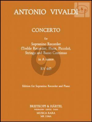 Concerto a-minor RV 455 (Sopranino[Treble/Flute/ Piccolo]-Strings-Bc)