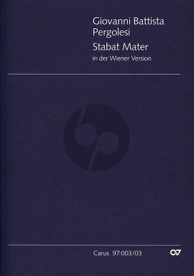 Pergolesi Stabat Mater (Wiener Fassung) (SATB soli-SATB- 2 Fl.- 2 Ob.- 2 Bsns- 2 Horns- 3 Trb.- 2 Vi.-Va.- Bc) (Vocal Score) (lat.) (edited M.Haselbock)
