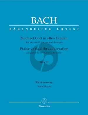Bach J.S. Kantate BWV 51 Jauchzet Gott in allen Landen Vocal Score (Praise ye God thruout creation BWV 51) (German / English)