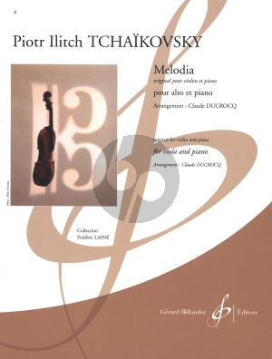 Tchaikovsky Melodie Op.42 No.3 (orig.violin) Viola-Piano (arr. Claude Ducrocq) (adv.level 7)