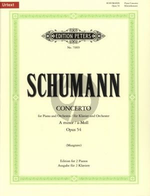 Schumann Concerto a-minor Op.54 (Piano-Orch.) Ed. for 2 Piano's (edited by Michael Musgrave) (Peters - Urtext)