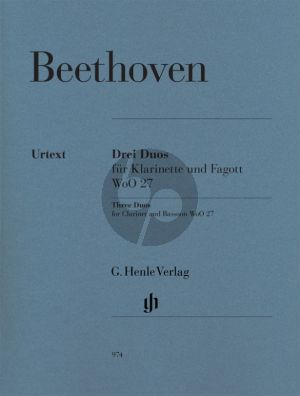 Beethoven 3 Duos WoO27 (Clarinet [C/Bb]-Bassoon) Score and Parts (edited by Egon Voss) (Henle-Urtext)