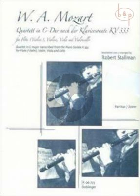 Quartet C-major after Piano Sonata KV 333 (Fl.[Vi.]-Vi.-Va.-Vc.)