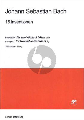Bach 15 Inventionen bearbeitet fur  2 Altblockflöten Partitur arr Sebastien Marq