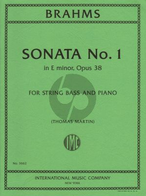 Brahms Sonata e-minor Op.38 Double Bass and Piano (transcr. Thomas Martin)