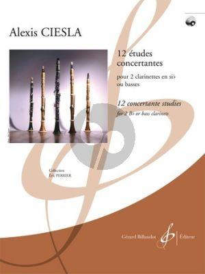 Ciesla 12 Etudes Concertantes 2 Clar. [Bb] or 2 Bass Clar. (Bk-Cd) (interm.level) (grade 6)