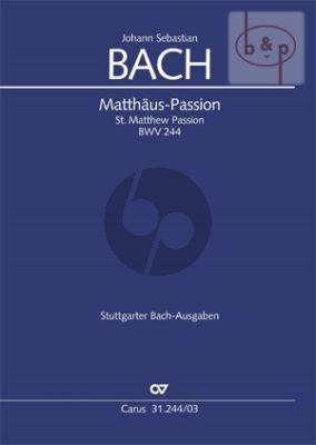 Matthaus Passion BWV 244 (Soli-Choir-Orch.) (Vocal Score) (germ.)