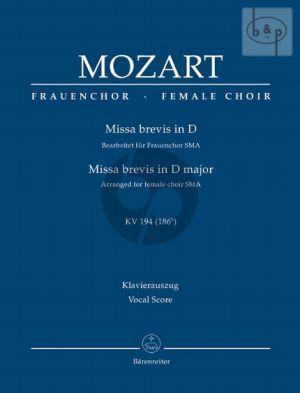 Missa Brevis D-major KV 194[186h] (arr. for female choir [SMA]) (Vocal Score)