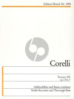 Corelli Sonate III Op.5 No.7 g-Moll Altblockflote und Bc (herausgegeven von Gerhard Braun)