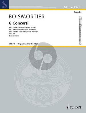 Boismortier 6 Concerti Op.38 2 Treble Recorders[2 Fl./2 Vi.])