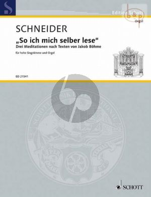 So ich mich selber lese (3 Meditations on texts of Jakob Boehme)