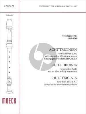 Rhau 8 Tricinien 3 Blockflöten (SAT) Spielpart.